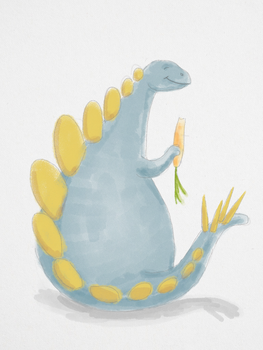 Stegosaurus Eating a Carrot by WickedOffKiltah