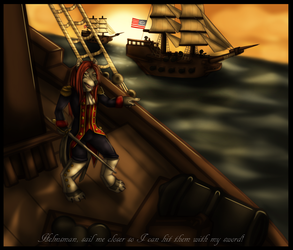 Sail me closer so I can hit them with my sword by Drasamax
