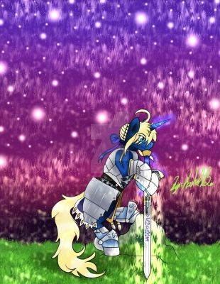 Saber As A Pony Holding her Excalibur Sword by littlewashu45