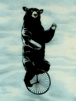 Bear on Unicycle by MadSketcher