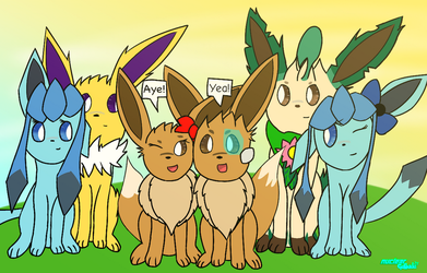[Crossover Picture] Eeveelution SquadxTeam Eevees by NuclearGallade25