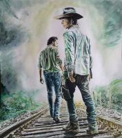 Rick and Carl from the walking dead by mchofmann
