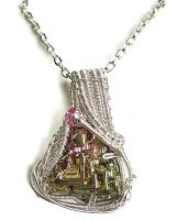 Bismuth Pendant in Silver with Swarovski Crystal by HeatherJordanJewelry