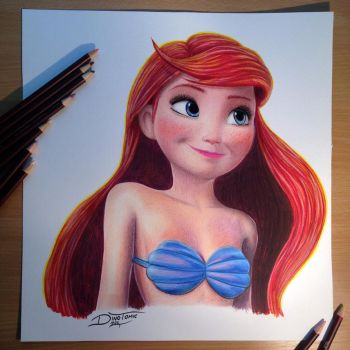 Ariel Color Pencil Drawing by AtomiccircuS
