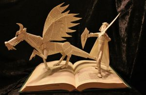 Knight and Dragon Book Sculpture by wetcanvas