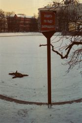 Sign: No walking on the ice by suero