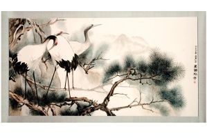 Japanese Crane with Chinese Pine by tboonip1