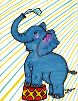 Baby Circus Elephant Marker version by DarkRubyMoon