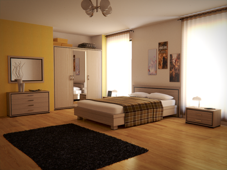 Blender Bedroom - Cycles by SlykDrako