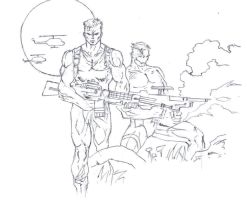Videogame drawing:  contra by electronicdave