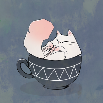 Tea Cup Cat by pluww