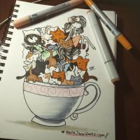 Cup Of Kitties by MarieJaneWorks