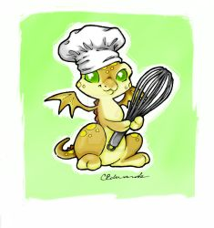 Chef Dragon pal doodle by MysticReflections