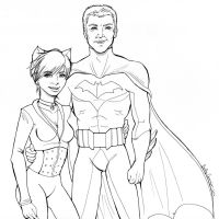 Scott and Kathy as Batman and Catwoman- Lineart by EmilyCammisa