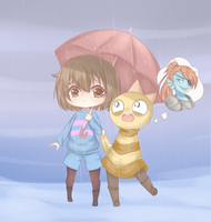 Undertale-Frisk and Monster kid by Neiziel