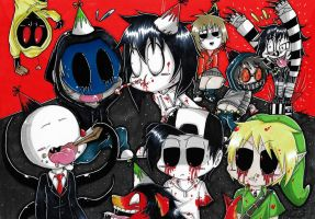 Chibi Creepypasta Party! (Coloured.) :3 by ShannonxNaruto