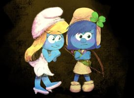 Smurfette and Stormy by Darxemnia