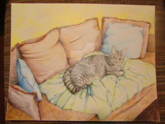 Drawing of My Cat Lounging by CeruleanFox333