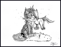 Luna and Derpy: Kisses and Fireflies noncolored. by dreamingnoctis