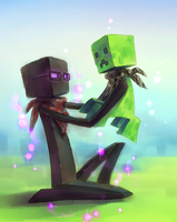 EnderXin and Blot the Creeper by Xin-tetsu