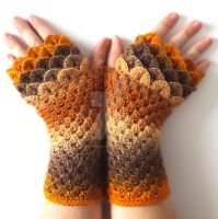 Golden Brown Dragon gloves by FearlessFibreArts