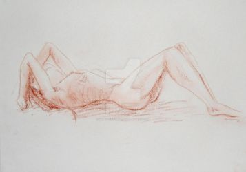 Sepia Woman Lying Down by WingSketcher
