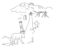Burial site and mountain drawing (line art) by electronicdave