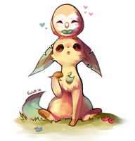Rowlet and Leafeon by foxlett