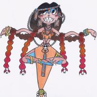 The lady snake-charmer cartoon version by kathe-cat