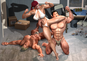 Muscle Woman Action: Muscle Defeats Muscles by TashaMorrales1