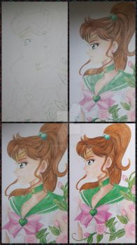 Sailor Jupiter - process of drawing by Elveariel