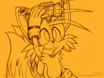 Sketch Wallpaper: Tails by Metal-CosxArt