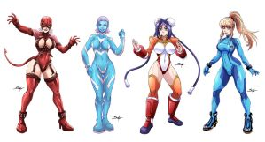 E. Rose, Dr. Ana, Mei-Fang and Samus _ Commission. by Sano-BR