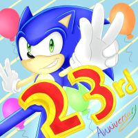 Happy 23rd Birday Sonic! by PokeSonFanGirl