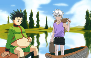 Killua Hunts, Gon Eats by splashcore