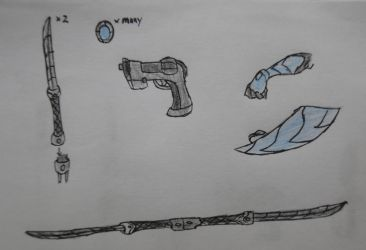 Nagisa's weaponry by StoneMan85