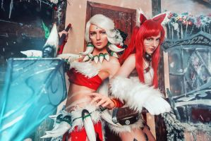 Nidalee Katarina League of Legends Snow Cosplay by AGflower