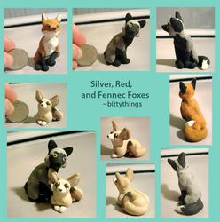 Silver, Red and Fennec Foxes 2017 - SOLD by Bittythings