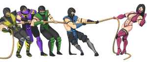 Mortal Kombat - tug of war contest by Superstrongbabes