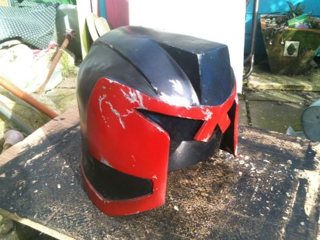 Dredd Helmet, painted and battle-worn by dicewarrior