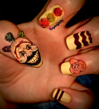 American Horror Story Nail Art - Twisty The Clown by KayleighOC
