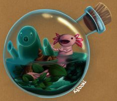 Axolotl in a bottle by Sokoya