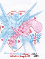 Blue, Pink, Wings and Heart by murumokirby360