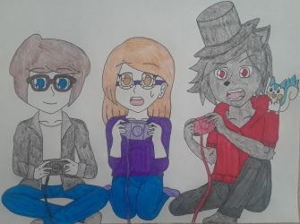 Wave, Susan and Fire Playing Video Games by Pachigirl1