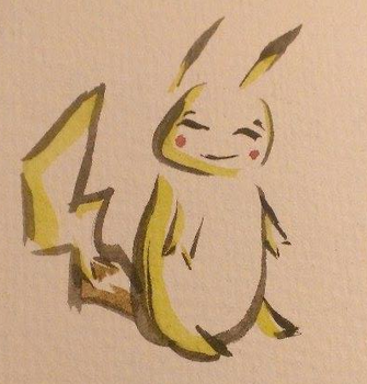 Pikachu - Stylised Brush Stroke by Thefriendlywolf