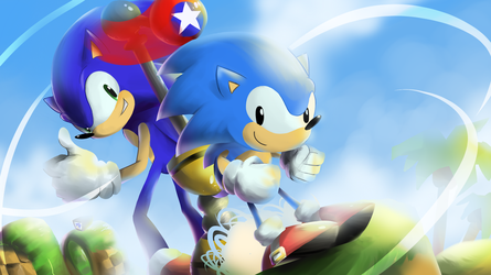 Sonic and Sonic by nintendo-jr
