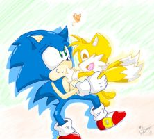 .::Collab::. Chibi Sonic and Tails Love by wolfiisaur
