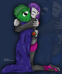 Beast Boy and Raven by melovesyou