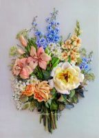 Ribbon embroidered picture,  The flowers for her by TetianaKorobeinyk