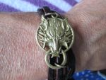 Wolf Fenrir brown leather unisex bracelet by Cre8tivedesignz